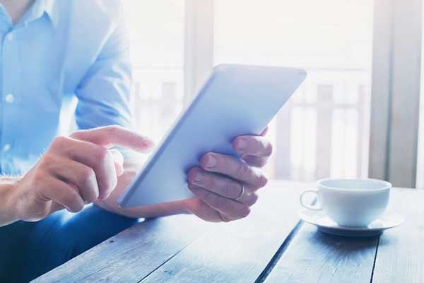 business Ipad tablet blue